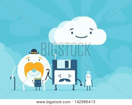 Old memory storages and cloud data service. Cartoon flat design vector conceptual illustration