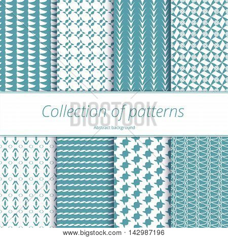 Set of seamless patterns of pastel green. Endless texture with geometric elements. Collection of monochromatic backgrounds. Vector illustration.