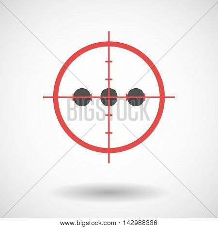 Isolated Line Art Crosshair Icon With  An Ellipsis Orthographic Sign