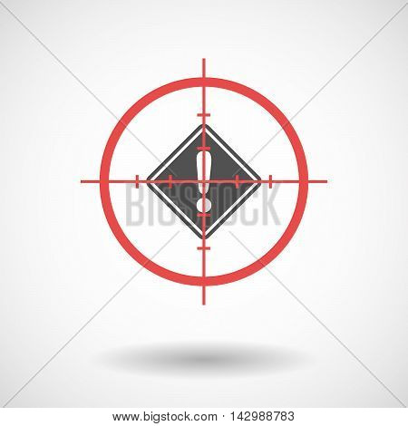 Isolated Line Art Crosshair Icon With   A Warning Road Sign