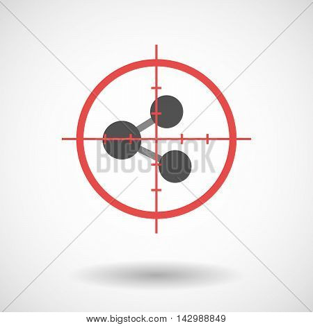 Isolated Line Art Crosshair Icon With  A Network Sign