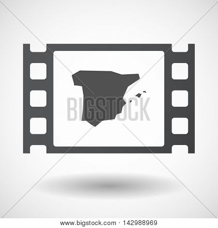Isolated Celluloid Film Frame Icon With  The Map Of  Spain