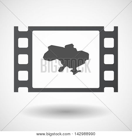 Isolated Celluloid Film Frame Icon With  The Map Of Ukraine