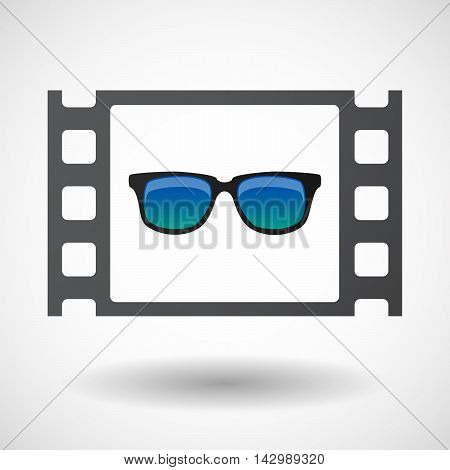 Isolated Celluloid Film Frame Icon With  A Sunglasses Icon