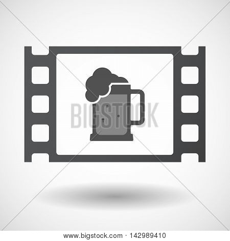 Isolated Celluloid Film Frame Icon With  A Beer Jar Icon