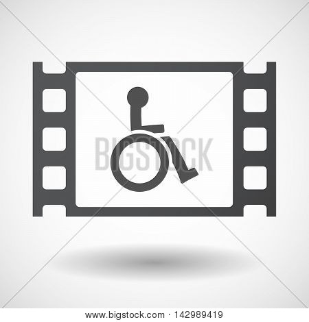 Isolated Celluloid Film Frame Icon With  A Human Figure In A Wheelchair Icon