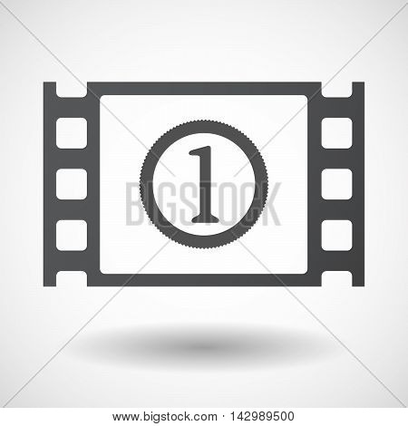Isolated Celluloid Film Frame Icon With  A Coin Icon