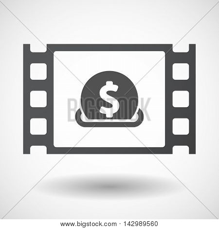 Illustration of an isolated celluloid film frame icon with a dollar coin entering in a moneybox poster