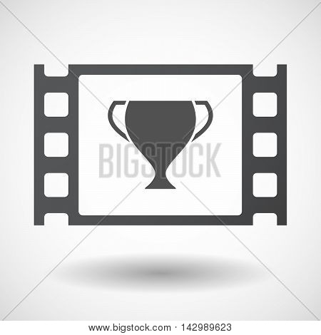 Isolated Celluloid Film Frame Icon With  An Award Cup