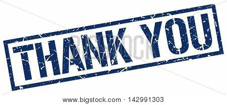 thank you stamp. blue grunge square isolated sign