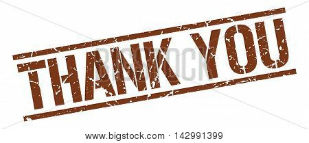 thank you stamp. brown grunge square isolated sign