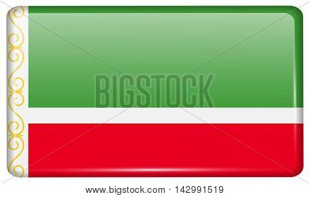 Flags Chechen Republic In The Form Of A Magnet On Refrigerator With Reflections Light. Vector