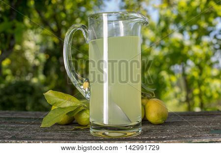 lemon juice on a wooden table, autumn set, outdoor