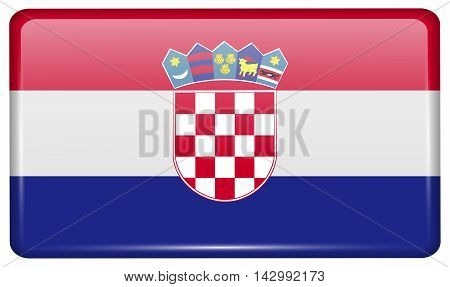 Flags Croatia In The Form Of A Magnet On Refrigerator With Reflections Light. Vector