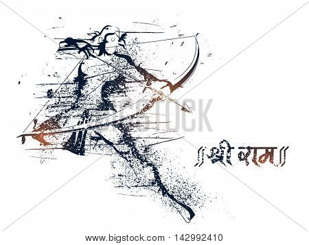 Creative abstract illustration of Lord Rama taking aim with bow and arrow for Indian Festival, Happy Dussehra celebration.