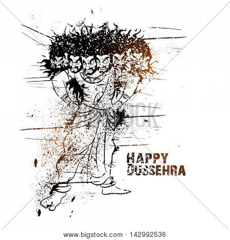 Creative abstract grungy illustration of Angry Ravana, Happy Dussehra celebration background for Indian Festival concept.