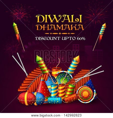 Best Diwali Dhamaka on Firecrackers, Sale Poster, Big Offer Banner, Clearance Flyer, Discount Upto 60%, Glossy night fireworks urban city Background, Vector illustration.