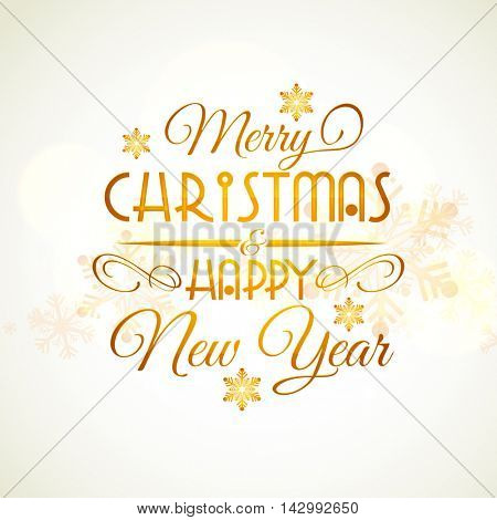 Inscription Merry Christmas and Happy New Year with snowflakes, Creative golden typographic background, Can be used as Poster, Banner, Flyer, Greeting Card or Invitation Card design, Hand drawn.