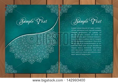 Set of cards or invitations with mandala pattern. Vector vintage hand-drawn highly detailed round mandala elements. Luxury lace festive ornament card. Islam Arabic Indian Turkish Ottoman Pakistan motifs