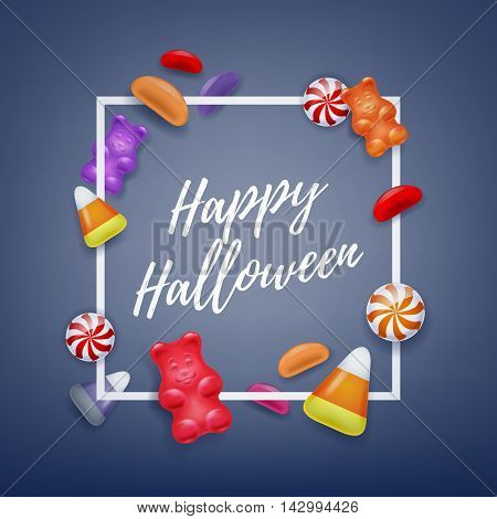 Halloween sweets colorful party background. Candy corn caramel jelly bean gummy bears, good for holiday design. Halloween greetings.