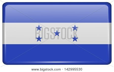 Flags Honduras In The Form Of A Magnet On Refrigerator With Reflections Light. Vector