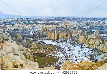 The giant phallic rocks in Love Valley are known among the tourists all over the world Cappadocia Turkey.