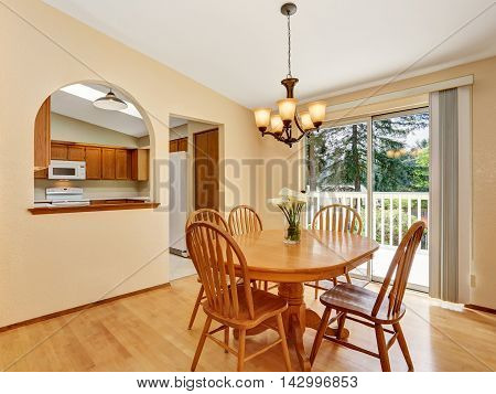 Classic Dining Area With Wooden Table Set And Hardwood Floor