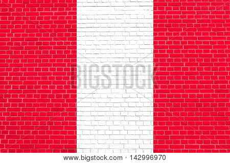 Flag of Peru on brick wall texture background. Peruvian national flag. 3D illustration