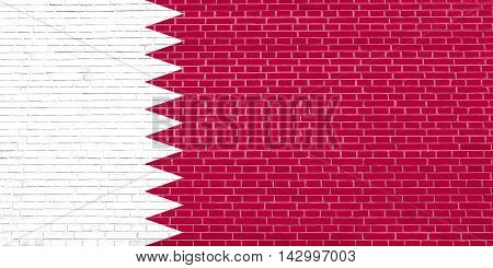Flag of Qatar on brick wall texture background. Qatari national flag. 3D illustration