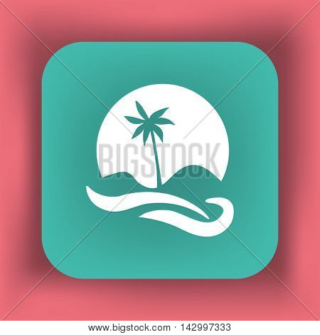Flat icon. Palm tree on background of a large sun. Holiday, vacation on the beach. Wave and palm.