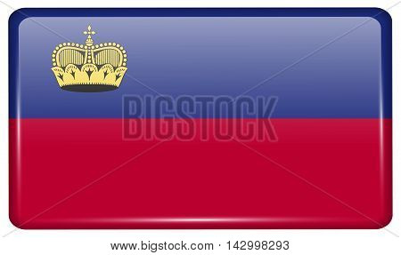 Flags Liechtenstein In The Form Of A Magnet On Refrigerator With Reflections Light. Vector