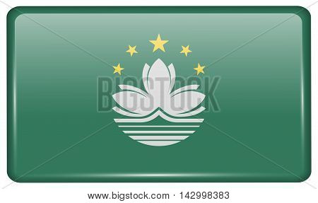 Flags Macau In The Form Of A Magnet On Refrigerator With Reflections Light. Vector