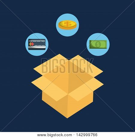 box coin bill credit cad online payment shopping ecommerce icon. Flat illustration. Vector graphic