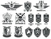 Vintage military vector labels and patches. Emblem and military badge, patch insignia for army and military air force illustration poster
