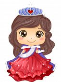 Illustration of a Young Beauty Queen Wearing a Gown and a Tiara poster