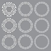 Set of round frames. Nine decorative elements for design with stripes braiding borders. White lines with black strokes on gray background. poster