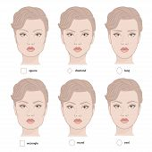 Set of vector face shapes. Eyebrows that are suited to different types of people. Set of illustrations with captions. Various types of woman faces. poster