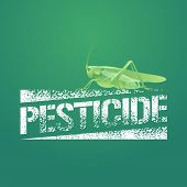 Pesticide vector logo icon symbol emblem. Design element with realistic locust for pest insects control chemicals poster