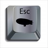 Blimp on Computer Escape Key Concept Icon poster