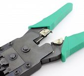 RJ45 crimping tool cutting blades, on white poster