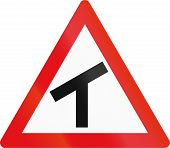 Road sign used in the African country of Botswana - Skewed T-junction. poster