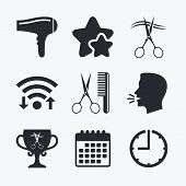 Hairdresser icons. Scissors cut hair symbol. Comb hair with hairdryer symbol. Barbershop winner award cup. Wifi internet, favorite stars, calendar and clock. Talking head. Vector poster