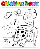 Coloring book with ladybug 1 on flower - vector illustration. poster