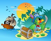 Pirate parrot and chest on island - vector illustration. poster