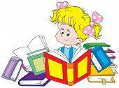 Vector clip-art of a little girl reading books poster