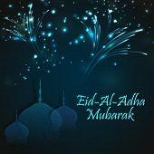 Creative paper cutout of Mosque on sparkling, fireworks background for Muslim Community, Festival of Sacrifice, Eid-Al-Adha Mubarak. poster