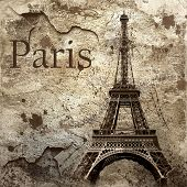 Vintage view of Paris on the grunge background poster