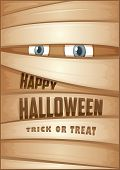 Poster with mummy. Halloween poster. Halloween Party Poster. Vector illustration. poster