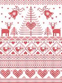 Scandinavian style and Nordic culture inspired Christmas,  festive winter seamless pattern in cross stitch style with bells, trees , snowflakes, birds, stars, reindeer, hearts, decorative ornaments poster