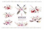 Set of watercolor vintage floral bouquets. Boho spring flowers and leaf frame isolated on white background: succulent branches leaves feathers berries peony rose. Hand painted natural design poster